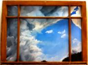 Painting on Reclaimed Window Sash (www.RachelKerwin.com)