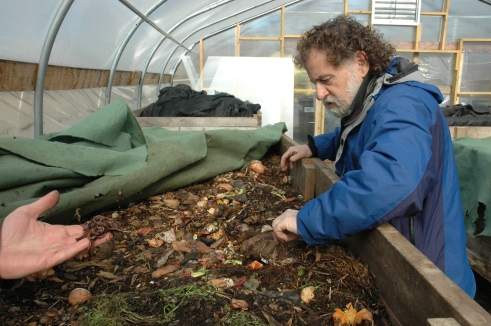 Compost guru Benny Erez check out the compost bins where the red wiggler worms (in Matthew Carucci's hand) work their magic in the nursery at ECO City Farms. Benny Erez holds the finished product.