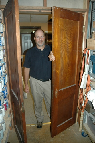 Appropriately, preservation architect Mike Arnold set up his office in a 1924 building at 6220 Rhode Island Ave. that served as Riverdale Park's first post office. He installed a pair of chestnut doors he bought at Community Forklift as part of an effort to restore the building's tasteful touches.