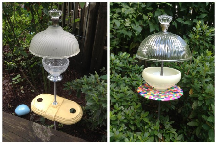 After attending Bill Kinneary's workshop at Community Forklift, Anna Filan was inspired to create an array of birdfeeders out of lamp parts and doorknobs.