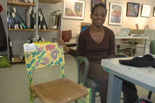 Charmaine Jones transformed a drab chair purchased at Community Forklift into a garden spot. This and pieces dressed up by artists at from Art Enables are part of the Forklift's Green Gift Fair beginning Nov. 1.