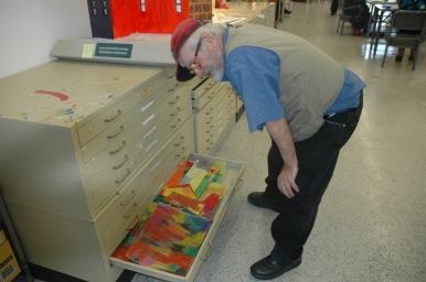 "Maurice ""Mo"" Higgs draws so much at Art Enables that his storage drawer is often overflowing."