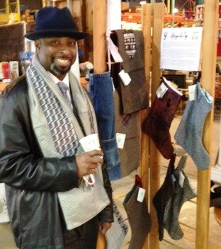 Forklift Fan Charles looks dapper in his new Upcycle Joy scarf