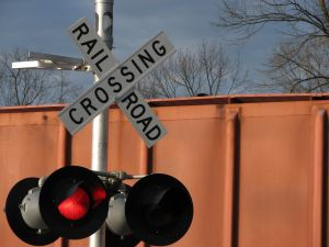 railroad crossing with train