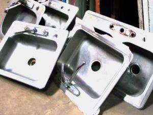 stainless steel sink compressed and lightened