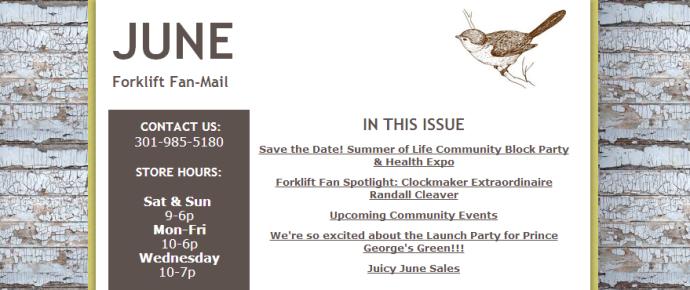 Newsletter screen capture