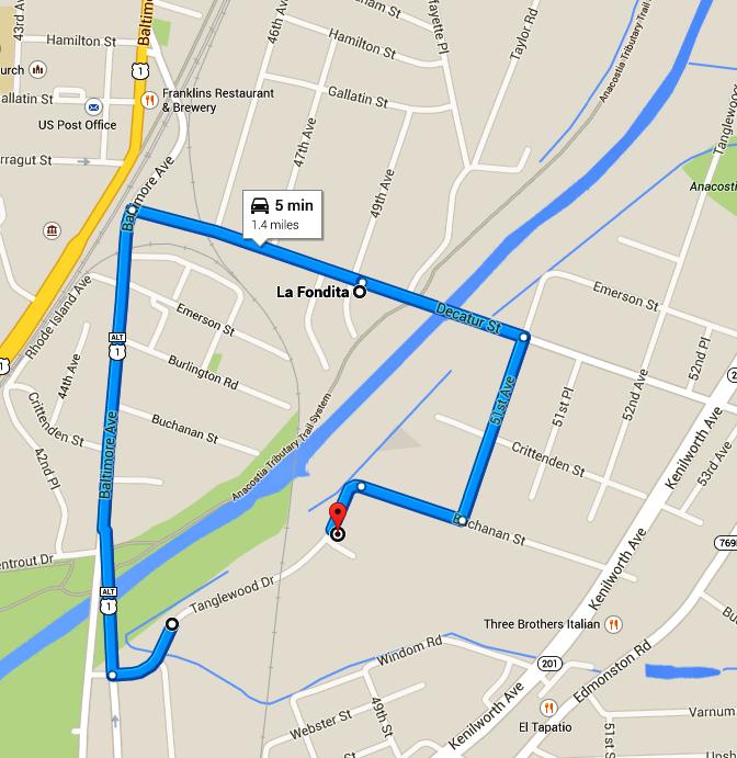 Map for Road Closing Detour