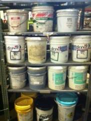 five gallon buckets of not-paint